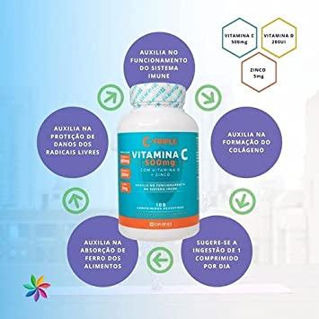 C-Triple Com Vitamina C 1G + Zinco 10Mg + Vitamina D 400Ui X 100 Comprimidos!