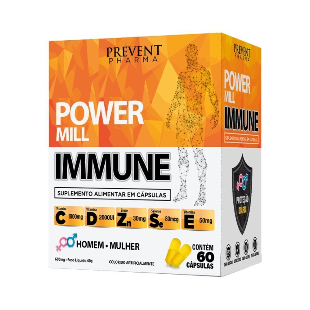 Power Mill Immune Vitamina C D E + Zinco e Selenio 60Cáps Prevent