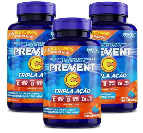 Prevent Com Tripla Ação De Vitamina C+D E Zinco Com 150 Capsulas!