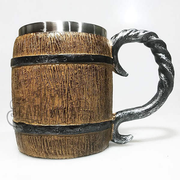 Caneca Barril Medieval Viking Em Resina | Inox 400ml - para Chopp, Vinho, Cerveja.