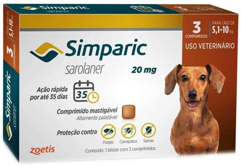 Simparic 20mg, 5,1 Até 10kg, 03 Compri Zoetis Para Cães